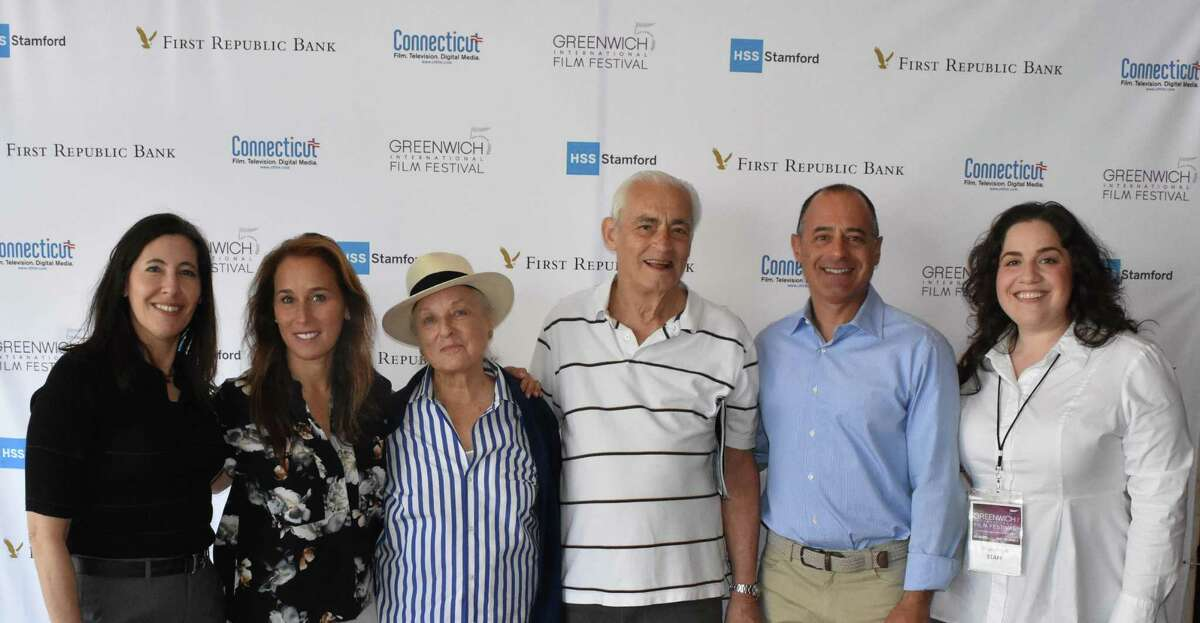 """From left, Mary Jane Rein, Rebecca Colin, Bobsey Colin, Steve Corman, Michael Bergenfeld and Shari Angel all pose outside the Greenwich International Film Festival screening of """"Touching the Sky,"""" a documentary about female Israeli soldiers who had to overcome so much to get through the exclusive Israeli Air Force program."""