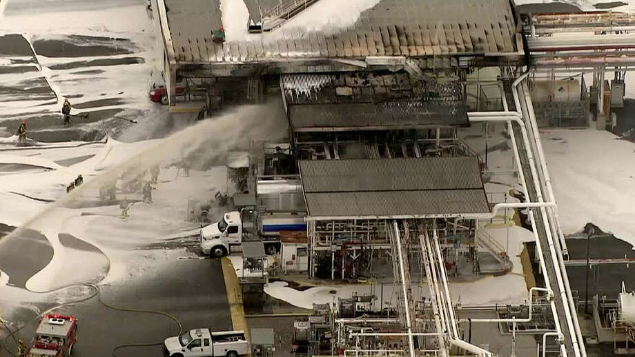 Cameras from Los Angeles-based television station KTLA-TV captured and aerial view of firefighter putting out a Monday morning fire at a Kinder Morgan fuel rack in Carson, California. The cause of the fire remains under investigation. Los Angeles County Fire Department officials said a shipment of jet fuel ignited sending a truck driver to the hospital.  Photo: KTLA-TV