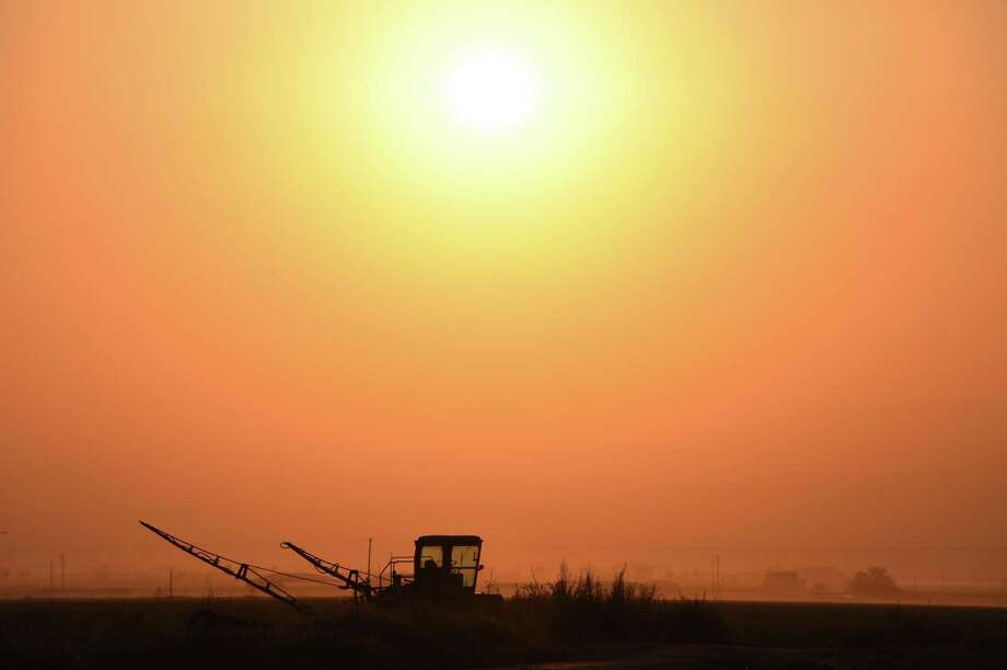 (FILES) This file photo taken on August 24, 2016, shows farm equipment parked in a field near Bakersfield, California, as the sun rises. (ROBYN BECK/AFP/Getty Images) Photo: ROBYN BECK / AFP or licensors