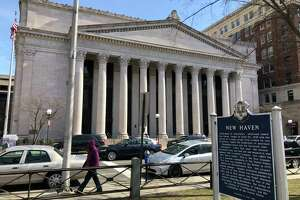 The Superior Court building on Elm Street in New Haven.