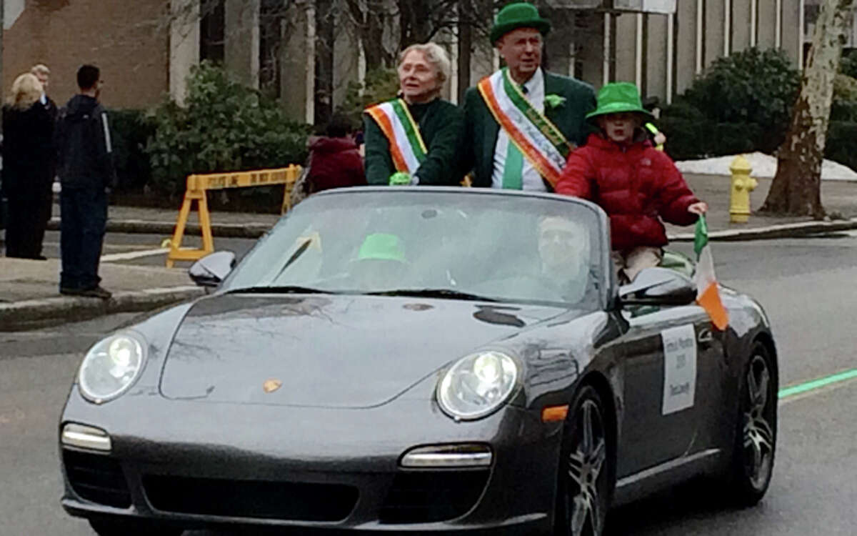 Trumbull resident Ted Lovely rides in Tuesday's Greater Bridgeport St. Patrick's Day Parade. Lovely served as parade grand marshal. - Roy Fuchs photo