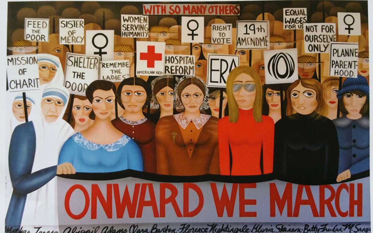 """""""Onward We March,"""" an acrylic painting on 48"""" x 96"""" canvas by Robin Morris was hanging at the Trumbull Library until the first selectman had it taken down."""