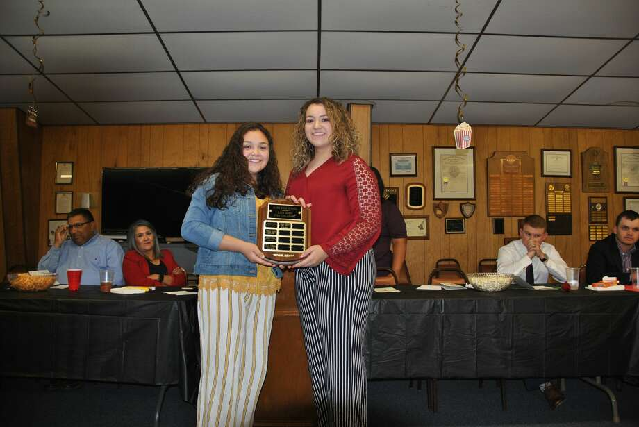 Karla Morales (L) and Adriana Rodriguez (R) were named co-recipients of the Fighting Heart Award for girls basketball. Photo: Neoma Williams/For The Herald