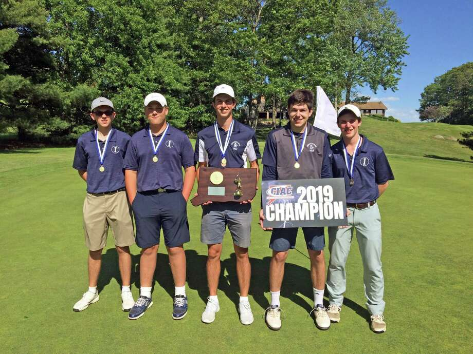 Immaculate won the Division IV golf championship at Tallwood Country Club in Hebron on Monday. Pictured are, from left to right, Logan McAloon, Dan LeBlanc, Jack Woods, Nick Iannetta and Ryan Fanella. Photo: Doug Bonjour / Hearst Connecticut Media / Connecticut Post