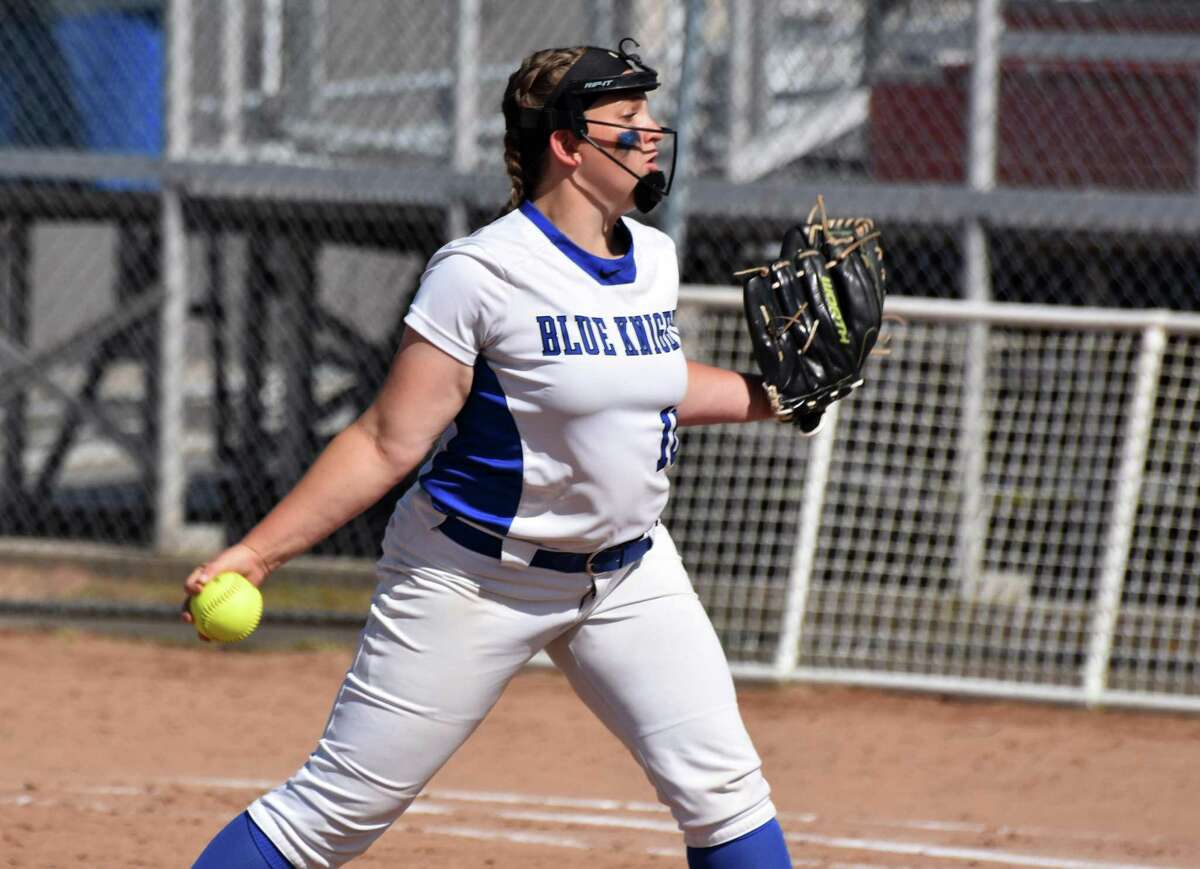 Southington's Julia Panarella pitches in the Class LL softball semifinals at DeLuca Field, Stratford on Monday, June 3, 2019. (Pete Paguaga, Hearst Connecticut Media)