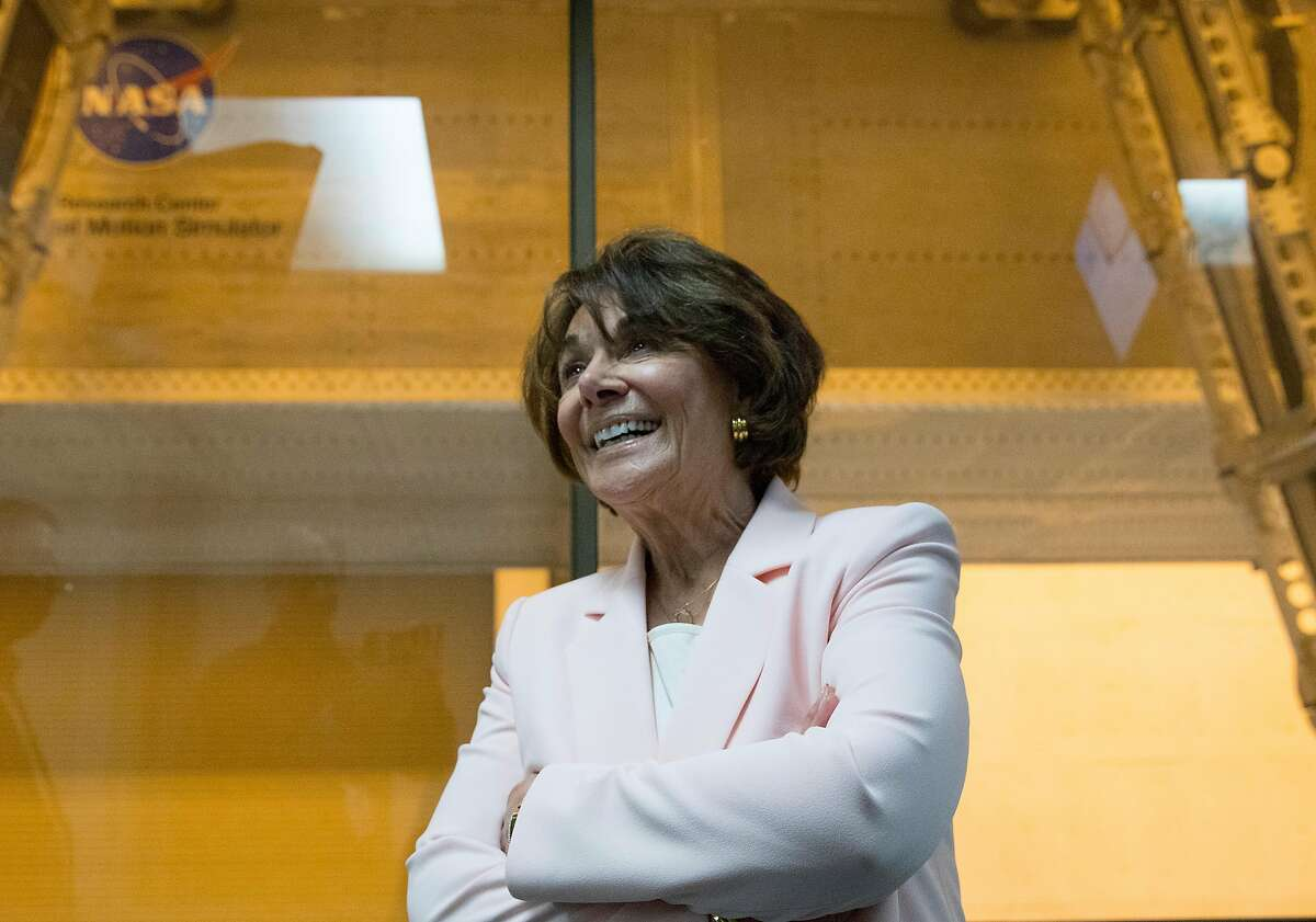 Congresswoman Anna Eshoo smiles after co-piloting the Veritcal Motion Simulator at NASA Ames Research Center in Mountain View, Calif. Friday, May 31, 2019.