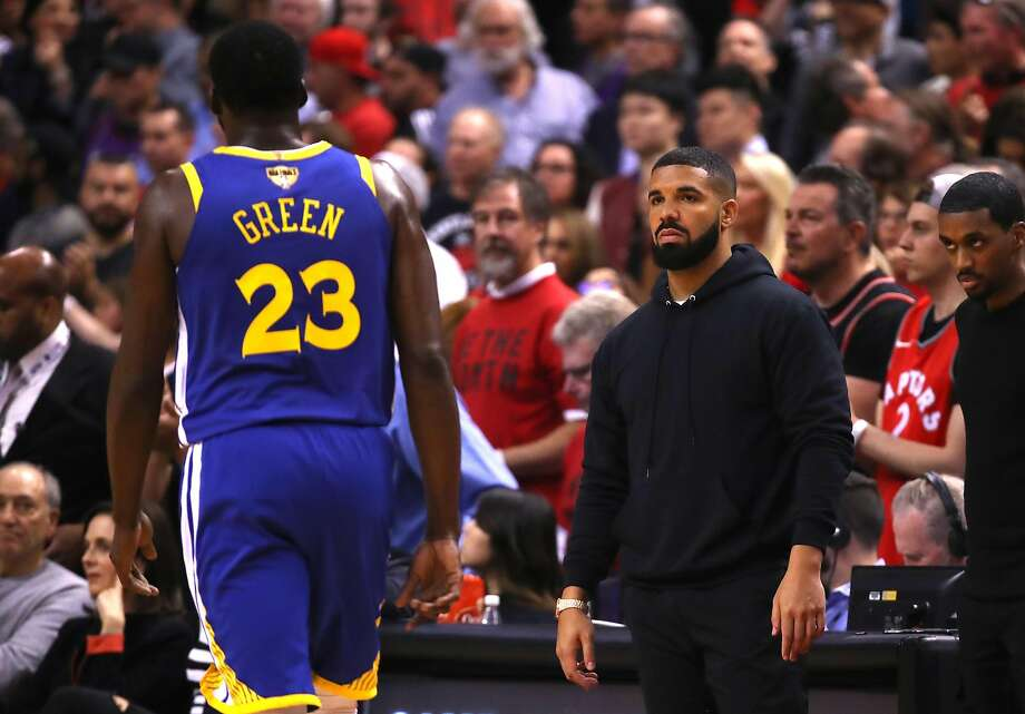 TORONTO, ONTARIO - JUNE 02: Drake reacts in the first half during Game Two of the 2019 NBA Finals between the Golden State Warriors and the Toronto Raptors at Scotiabank Arena on June 02, 2019 in Toronto, Canada.
