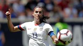 United States forward Alex Morgan tries to control the ball during the first half of an international friendly soccer match against Mexico, Sunday, May 26, 2019, in Harrison, N.J. (AP Photo/Julio Cortez)