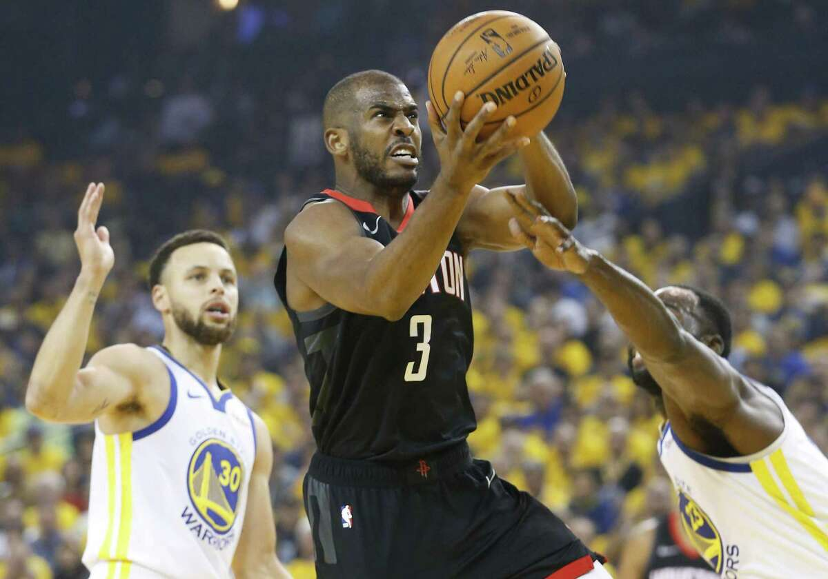 """Chris Paul, driving against the Warriors in Game 5, says being in Houston is """"all about winning."""""""