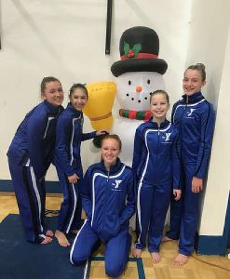 Lakewood-Trumbull YMCA Level 7 team placed second at the YMCA Snowflake Invitational Meet. Pictured are Olivia Hogan, Zosia Kocab, Callan Vaughn, Lindsay Capobianco and Grace Stephens.