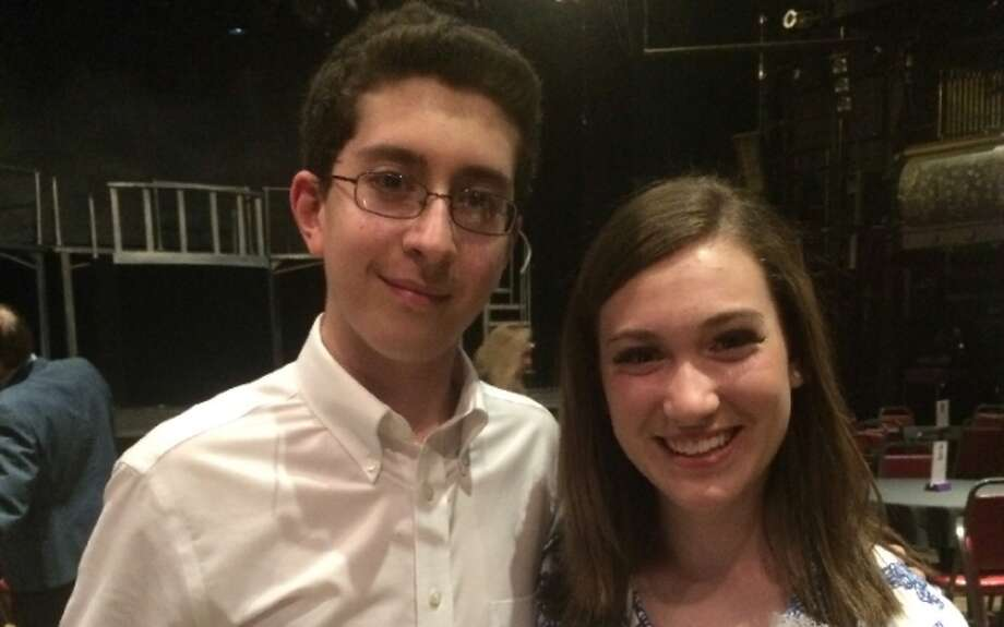 Trumbull High senior Jack Ferreira with actress Brooke Robinson after a performance of Evita. Jack has amassed 1,000 volunteer hours in the last four years, and is aiming to contribute 3,000 more hours and earn a phone call from the President of the United States. — Submitted photo