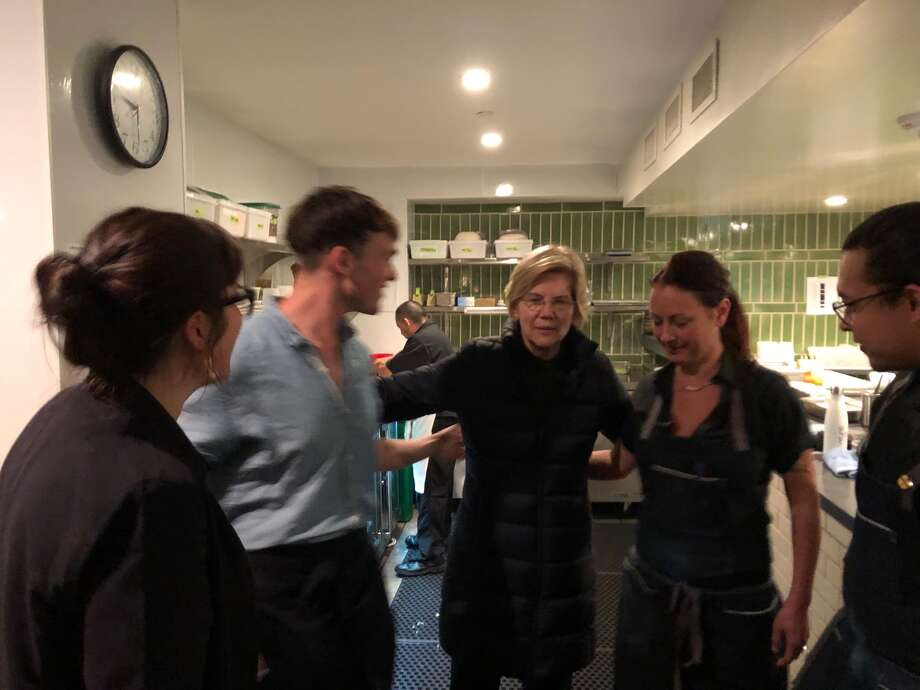 Sen. Elizabeth Warren of Massachusetts stepped into the kitchen at Ayala restaurant in San Francisco during the 2019 California Democrat Convention. Photo: Courtesy Ayala