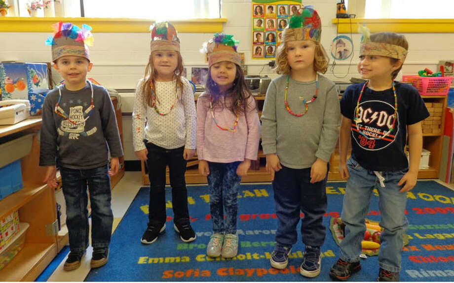 B'nai Torah Nursery School students dressed as Native Americans and Pilgrims to act out the story of the first Thanksgiving.