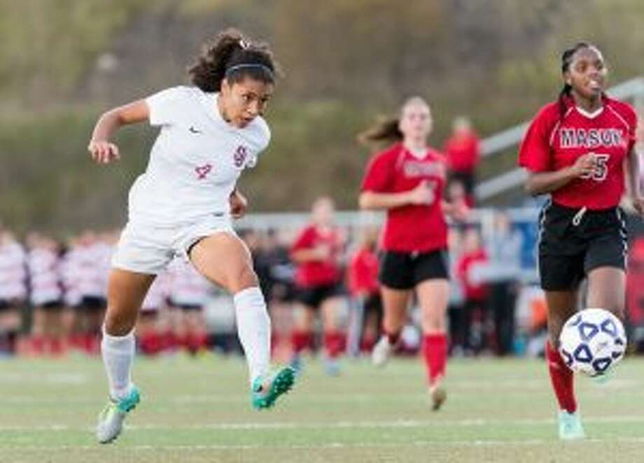 Jess Mazo unleashed her second goal of the game, as St. Joseph scored four times in the second half. — David G. Whitham photo