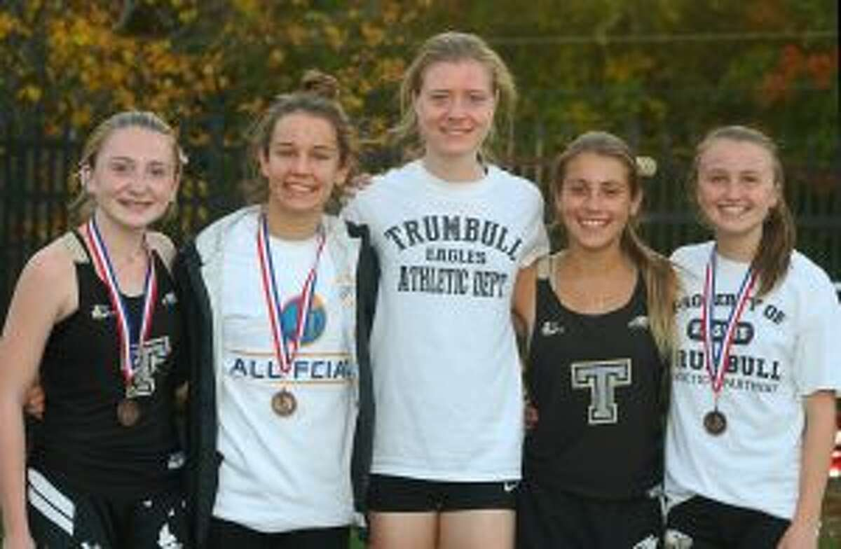 Trumbull's top varsity runners at the FCIAC championships were Megan Becker, Kate Romanchick, Molly Malloy, Ally Zaffina and Maggie LoSchiavo.