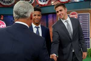 SECAUCUS, NJ - JUNE 03:  Jackson Rutledge shakes hands with Major League Baseball Commissioner Robert D. Manfred Jr. prior to the 2019 Major League Baseball Draft at Studio 42 at the MLB Network on Monday, June 3, 2019 in Secaucus, New Jersey. (Photo by Alex Trautwig/MLB Photos via Getty Images)