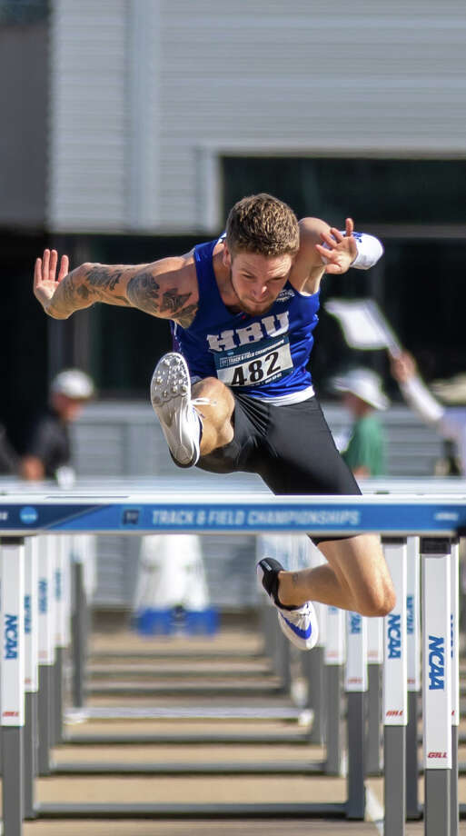 Lee grad and Houston Baptist sophomore Denim Rogers competes in the men's 110-meter hurdles at the NCAA Division I West Region Preliminary Meet, May 24 in Sacramento, Calif. Photo by Wade Denniston Photo: Wade Denniston