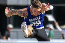 Lee grad and Houston Baptist sophomore Denim Rogers competes in the men's 110-meter hurdles at the NCAA Division I West Region Preliminary Meet, May 24 in Sacramento, Calif. Photo by Wade Denniston