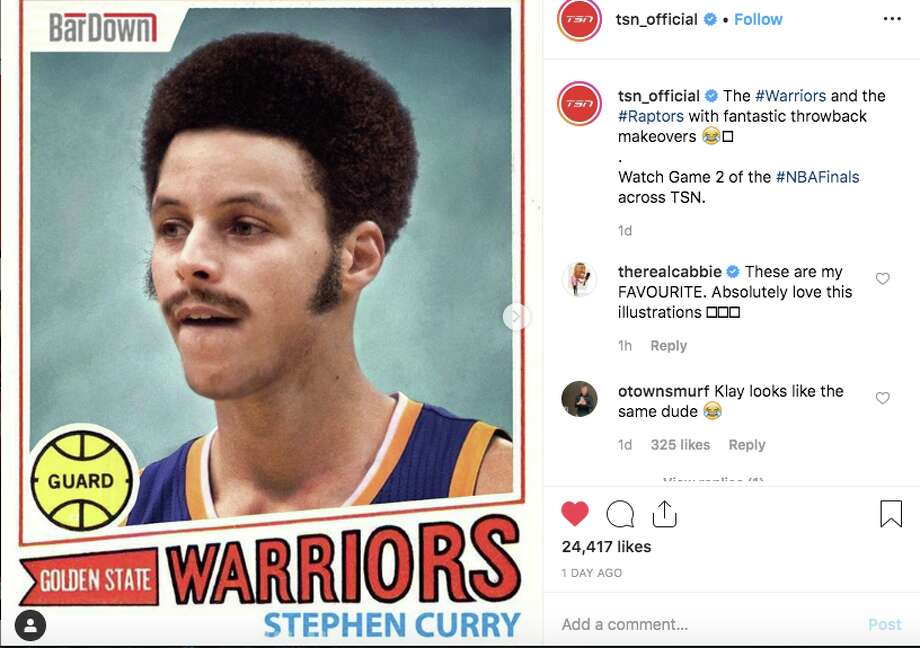 """A Canadian website gave Warriors and Raptors players amusing """"throwback"""" makeovers. Photo: TSN/Instagram"""
