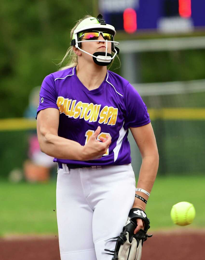 Ballston Spa pitcher Lauren Kersch throws the ball during a softball game against Shenendehowa on Wednesday, May 1, 2019 in Ballston Spa, N.Y. (Lori Van Buren/Times Union)