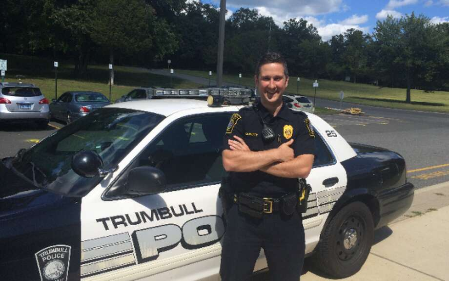 Officer Blake Petty aims to become a familiar face around Trumbull High School. — Donald Eng photo
