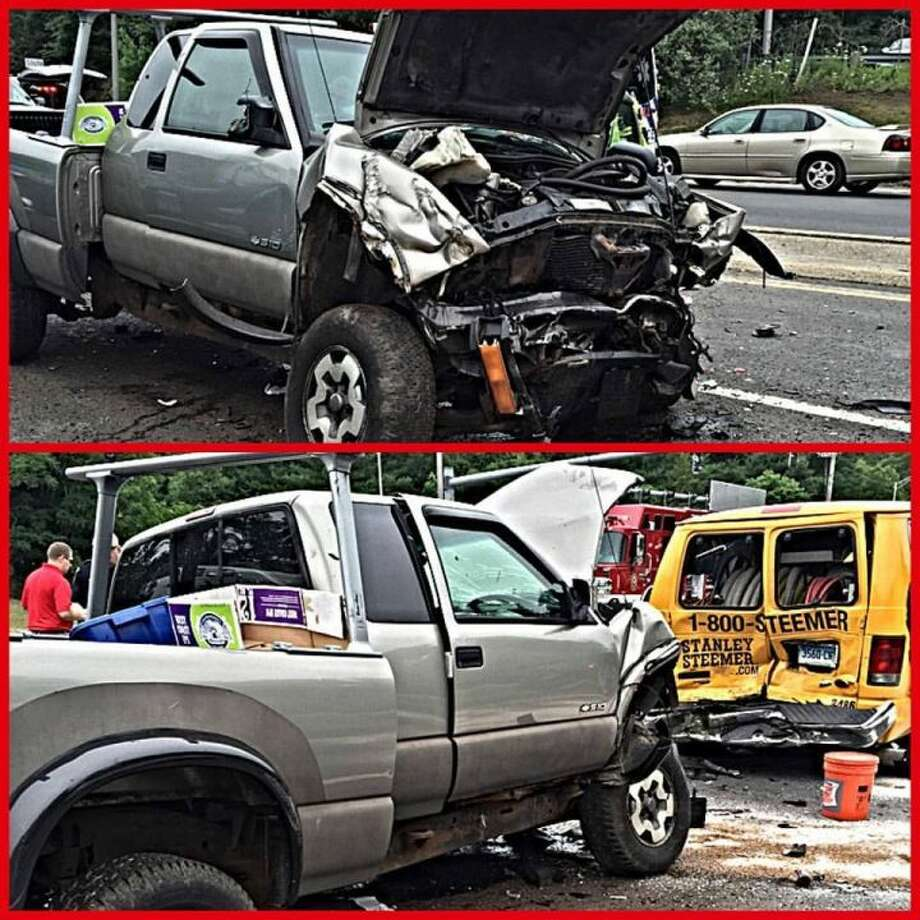 These two images show the damage from a multi-vehicle collision on Route 25 and Route 111 last weekend. Long Hill Volunteer Fire Co. #1 Inc. photos
