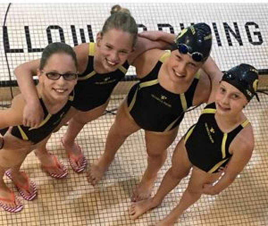 Trumbull Pisces 10U's Loralai Dale, Caitlyn Dale, Kristen Racicot and Audrey Kehley took first in the 200 free and 200 medley relays.
