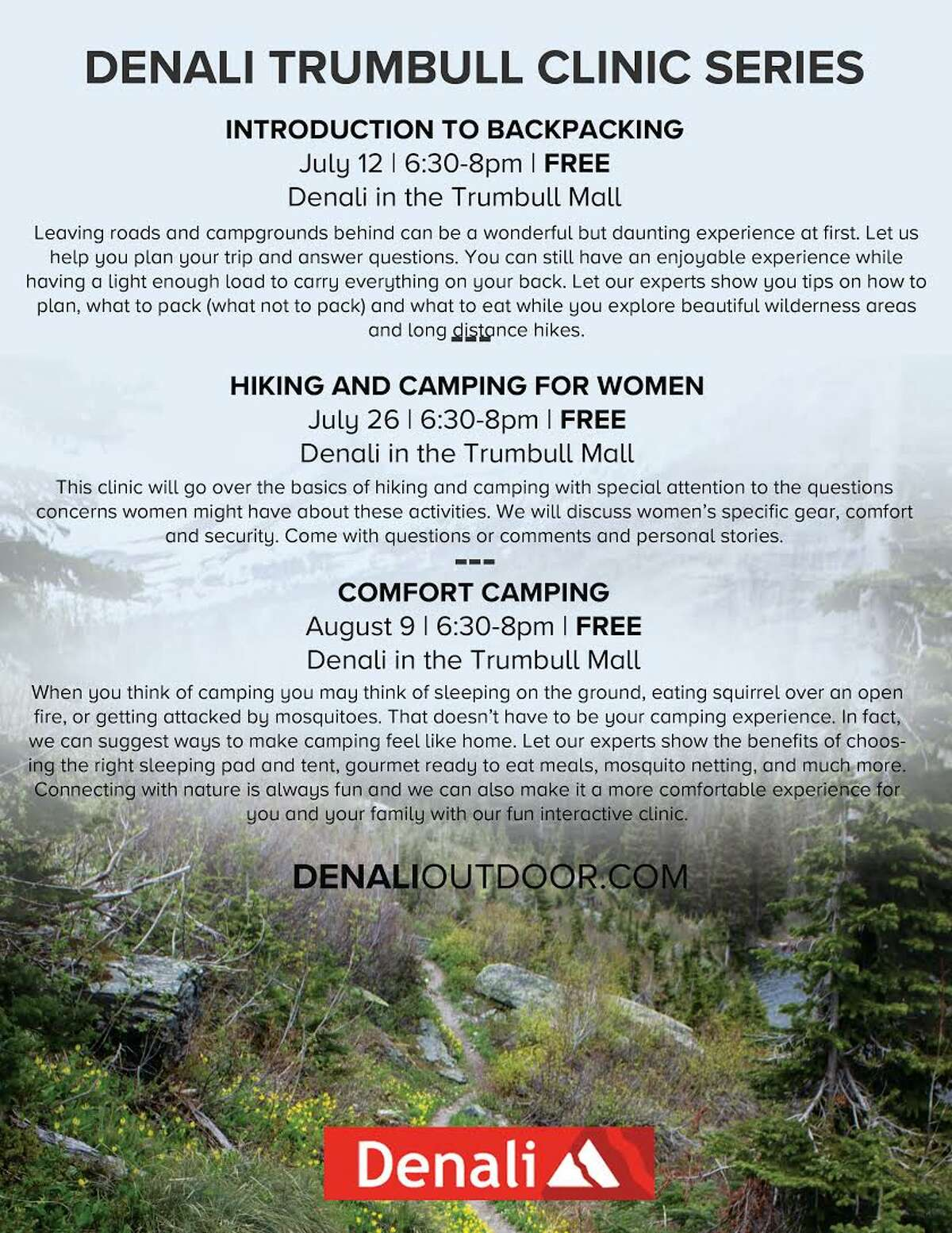 Denali Trumbull has announced a three-part clinic that will inspire shoppers to get into nature this summer.