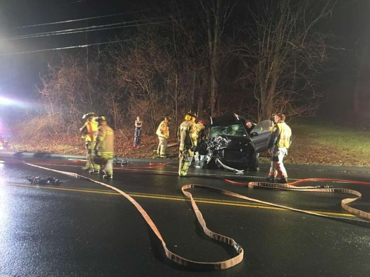 The scene of the accident on Church Hill Road between Edison Road and Taits Mill Road that involved Town Clerk Suzanne Burr Monaco and her husband, Domenic, back on Feb. 3. The driver that struck Monaco's vehicle was high on heroin, Trumbull police confirmed last week.