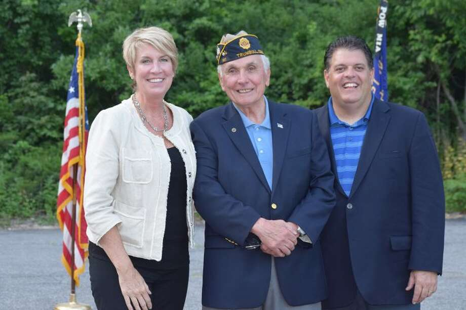 State Rep. Laura Devlin, with Post Commander George Areson and State Rep. David Rutigliano honoring Flag Day.