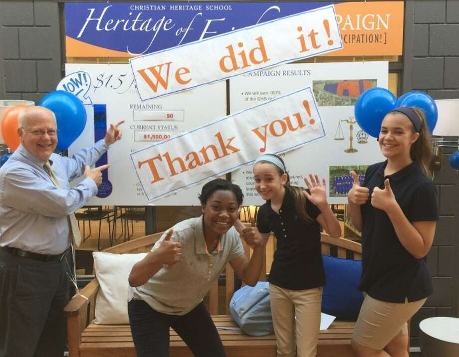 "Christian Heritage School celebrate the completion of the ""Heritage of Faith"" campaign last week."