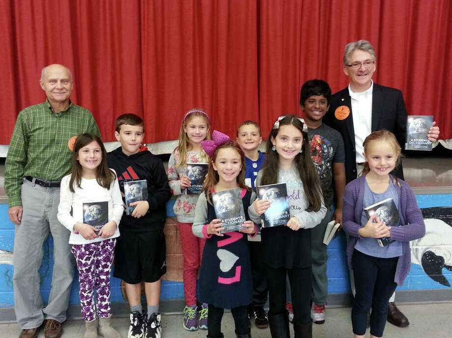"Rotarians distributed dictionaries to every third grader in Trumbull last fall, visiting every classroom for the annual ""Read Aloud Day."""