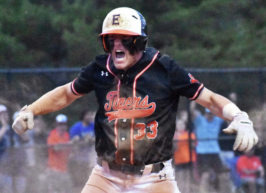 Edwardsville's Drake Westcott reacts after scoring the game-winning run on a two-out RBI single from Josh Ohl in the seventh inning Monday in a Class 4A super-sectional baseball game in Springfield. Photo: Matt Kamp / Hearst Illinois
