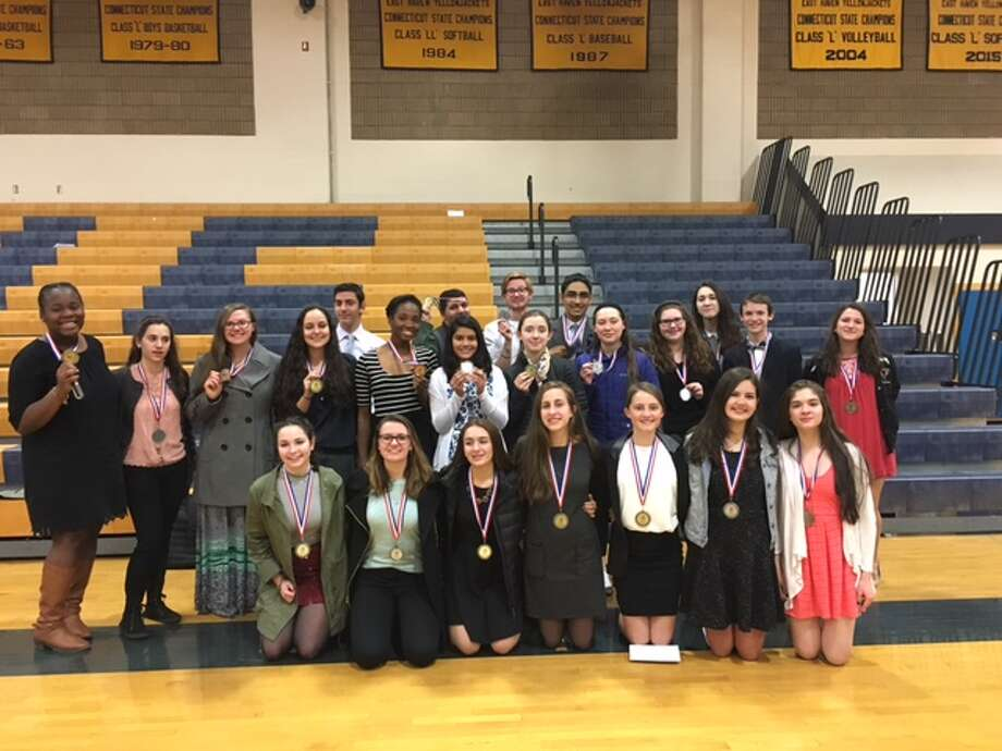 COLT Award Winners pose for a picture earlier this spring at East Haven High School.
