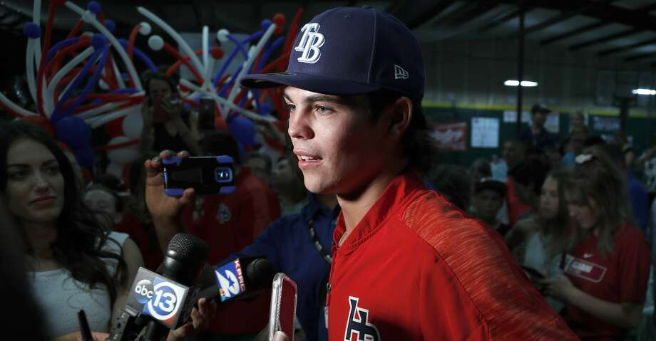 JJ Goss of Cy Ranch speaks to the media after the announcement that he was picked by Tampa Bay in the compensation pick round at the Hunter Pence Baseball Academy, Monday June 3, 2019, in Houston. Photo: Karen Warren/Staff Photographer