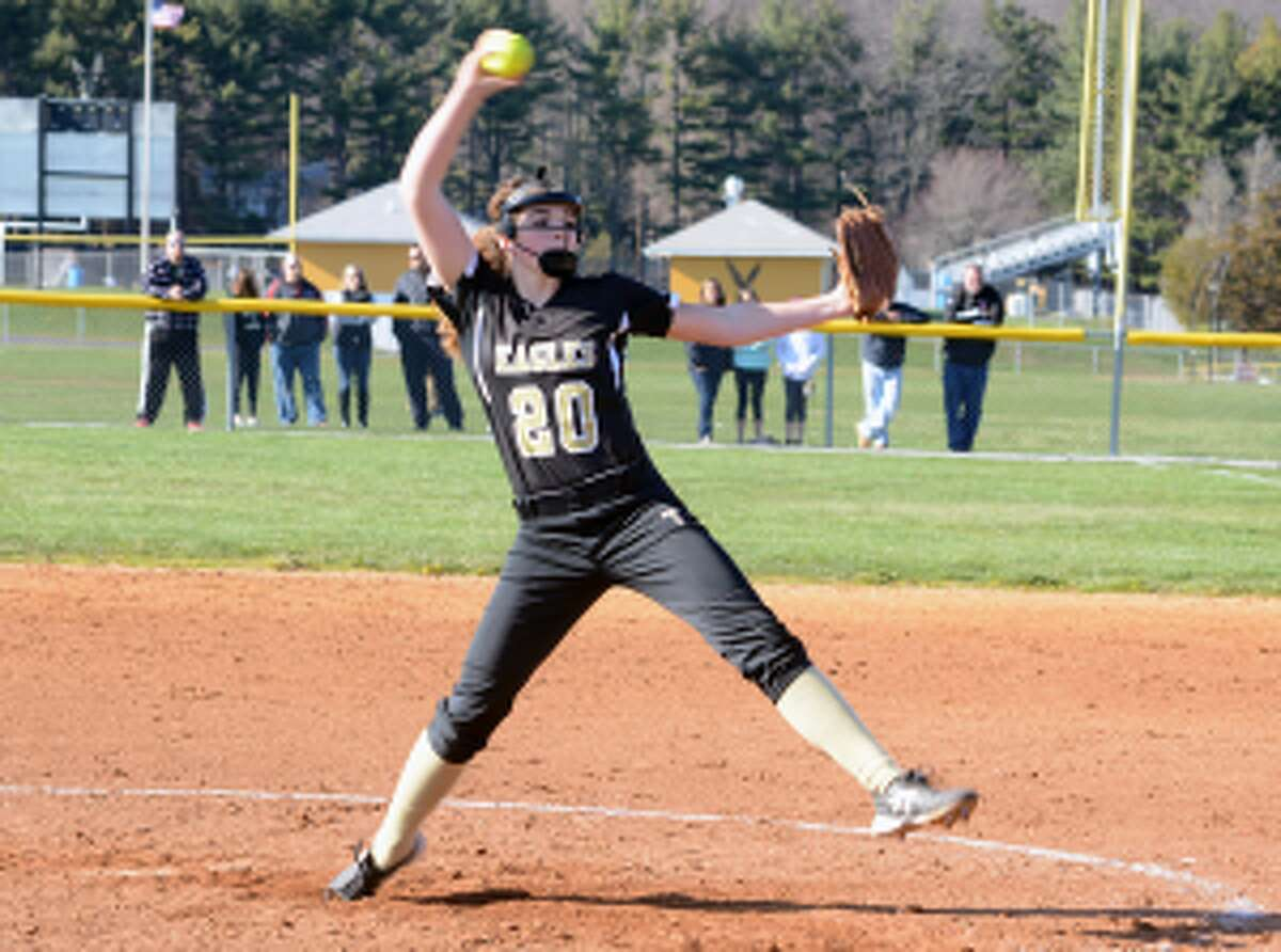Trumbull pitcher Ally Szabo is one of six seniors credited by coach Jacqui Sheftz for team's success. - Bill Bloxsom photo