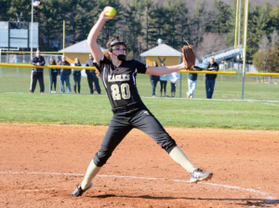 Trumbull pitcher Ally Szabo is one of six seniors credited by coach Jacqui Sheftz for team's success. — Bill Bloxsom photo