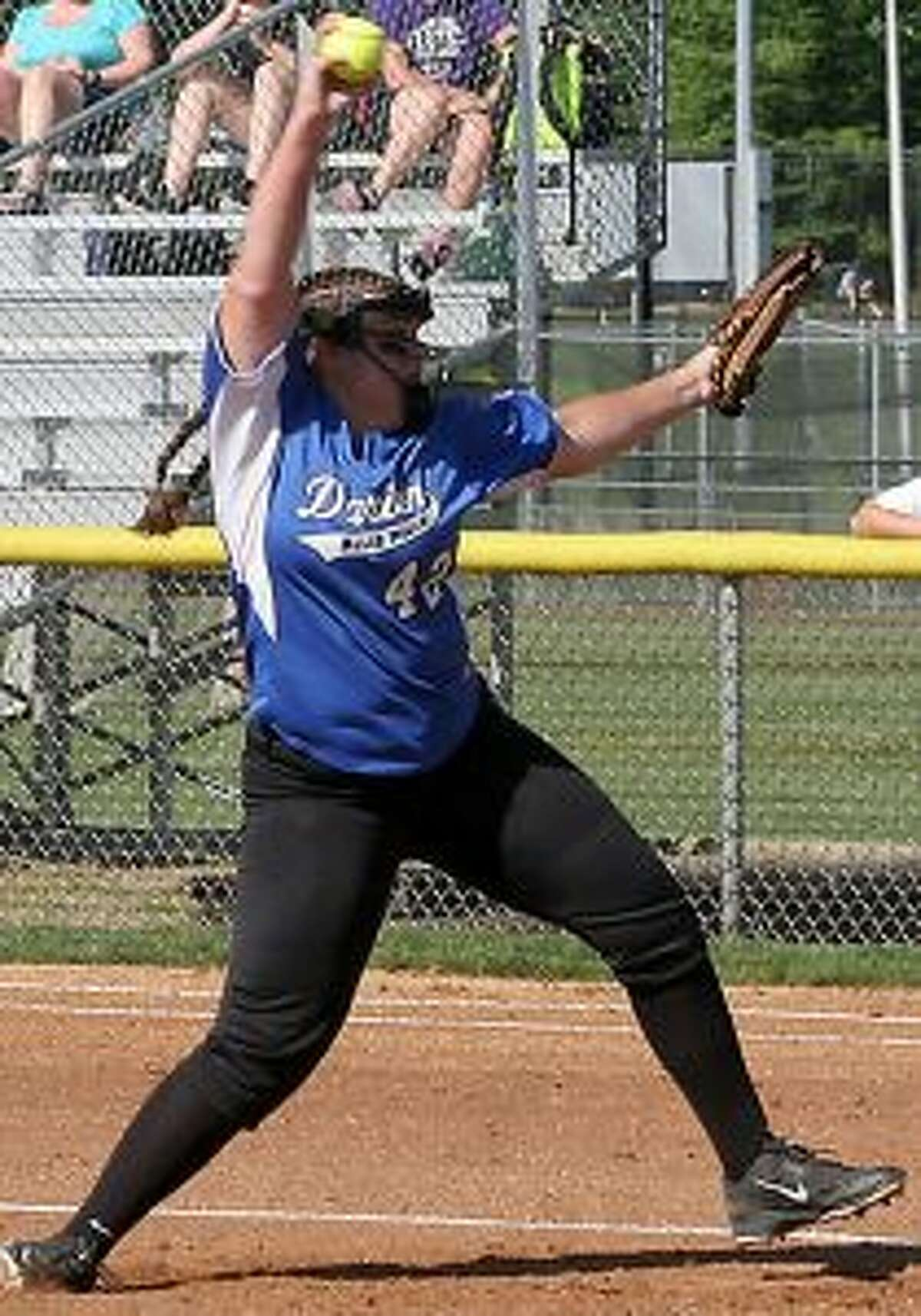 Darien High's Sophie Barbour tossed a two-hitter at Trumbull High. - Bill Bloxsom photos