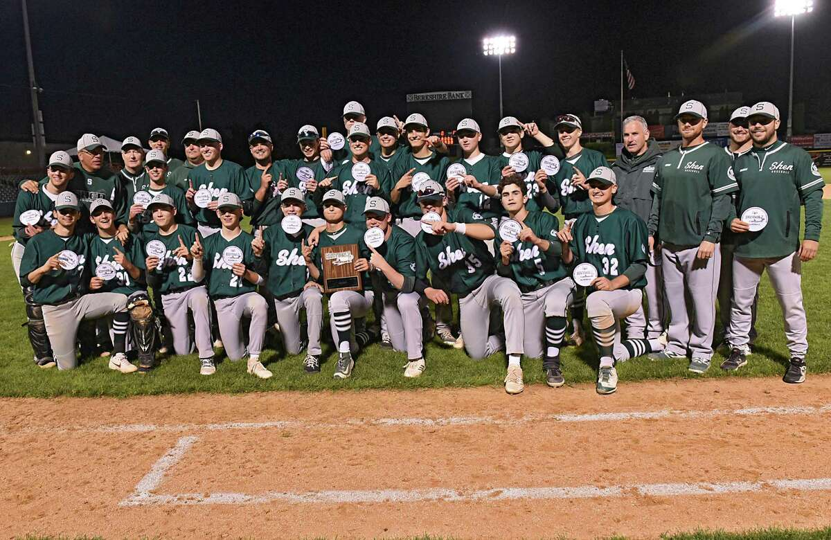 Shenendehowa poses for a team photo with their plaque after defeating Niskayuna during the Class AA baseball final at Joe Bruno Stadium on Monday, June 3, 2019 in Troy, N.Y. (Lori Van Buren/Times Union)