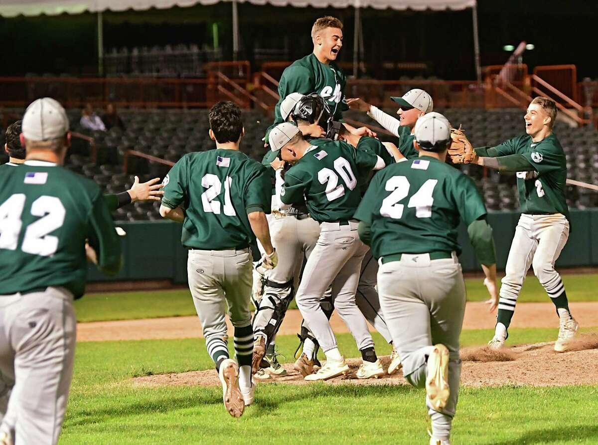 Shenendehowa celebrates after defeating Niskayuna during the Class AA baseball final at Joe Bruno Stadium on Monday, June 3, 2019 in Troy, N.Y. (Lori Van Buren/Times Union)