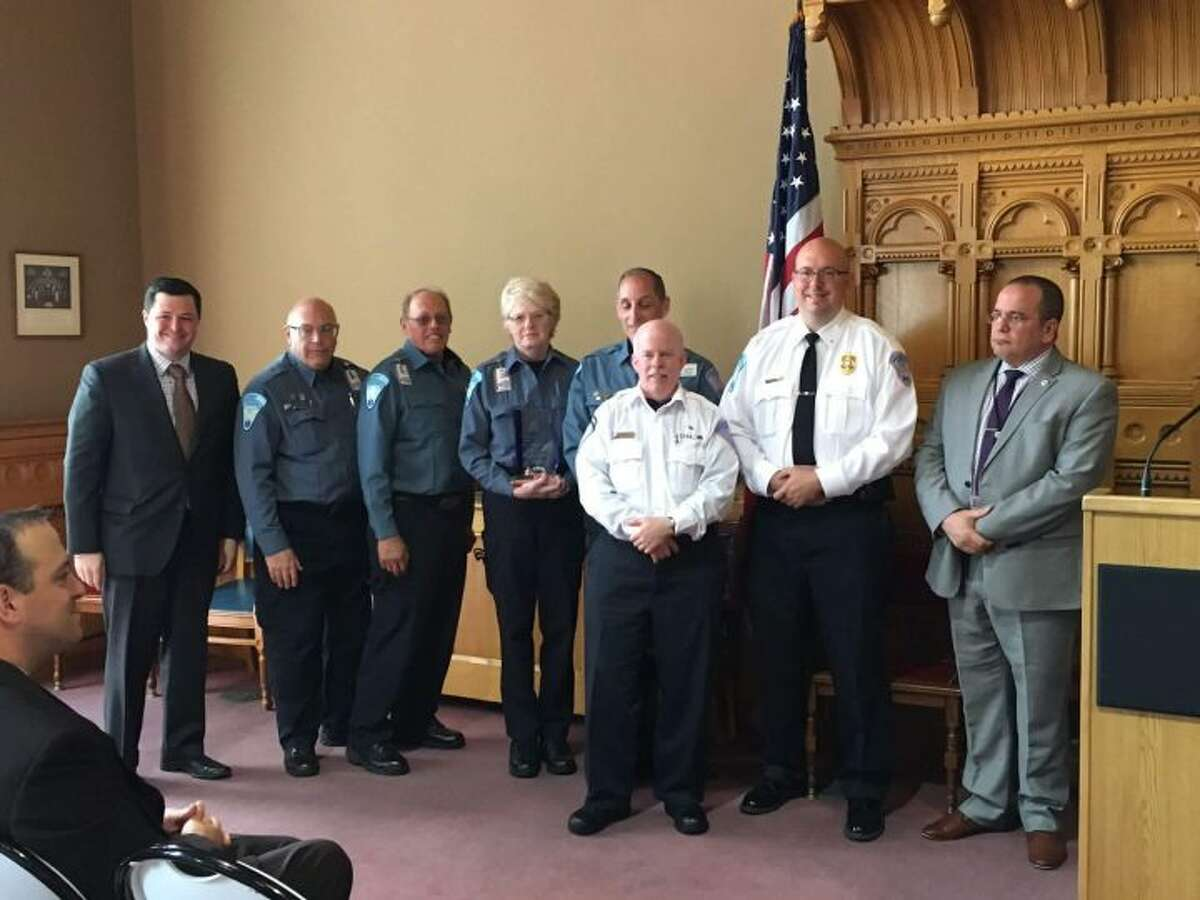 Members of Trumbull EMS in Hartford Monday.