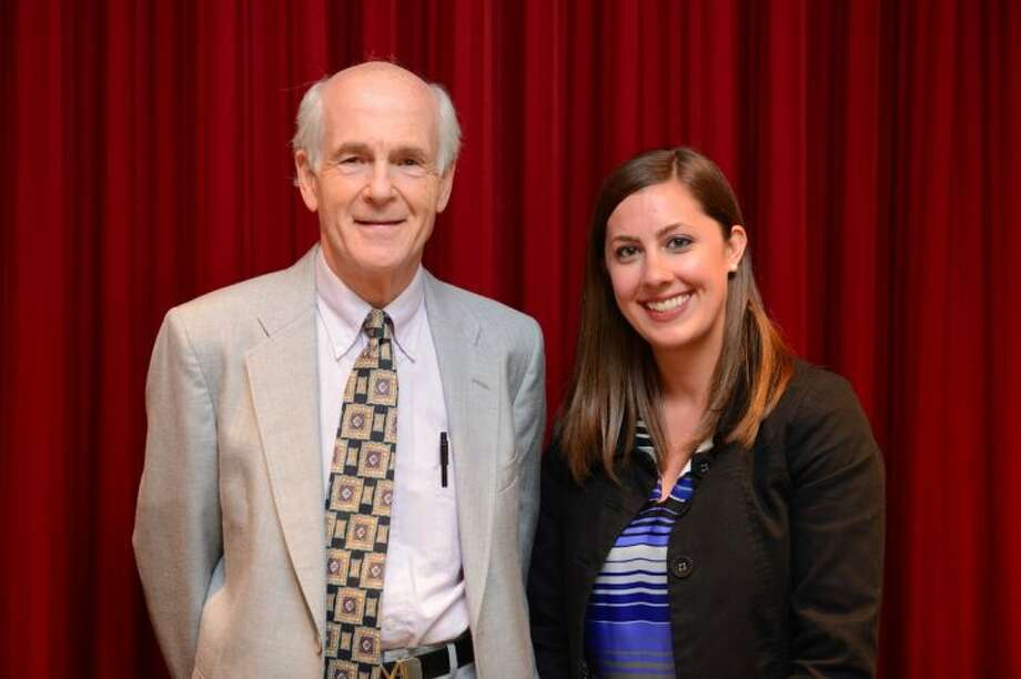 Dr. Michael P. Zabinski, vice chairman of the Weller Foundation, with Middlebrook Elementary School teacher Amanda Schaefer, who was the 2016 recipient of the Weller Excellence in Teaching Award.