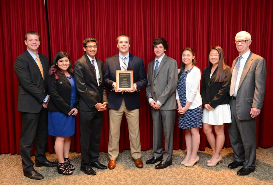 From left to right: Todd Manuel, C-House Principal of Trumbull High School; Jasmin Bautista, Voccia recipient; Anuj Sisodiya, BLW Finalist; Robert Schlatter, Paul W. Broggi Communications Award recipient; Connor Gillis, Senior Science Award Recipient; Lindsey McMorris, Education Scholarship Recipient; Stephanie Chow, Eleanor F. Moore Business Award Recipient; and Brian Skinner, vice chairman and treasurer of The Weller Foundation.