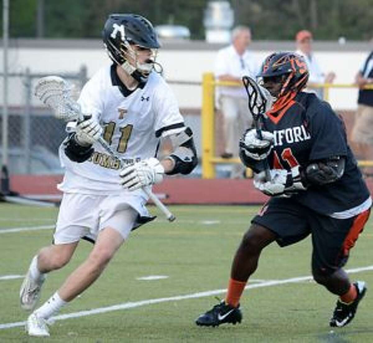 Jack Fairfield advances the ball during the match with Stamford High. - Andy Hutchison photo