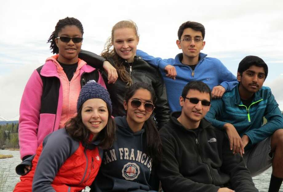 From to left to right: members of the Trumbull High School Academic Decathlon team Daejah Woolery, Alexandra Dima, Elisabeth Stankevitz, Saloni Shah, Ishan Negi, Viraj Dongaonkar, and Lalith Gannavaram.