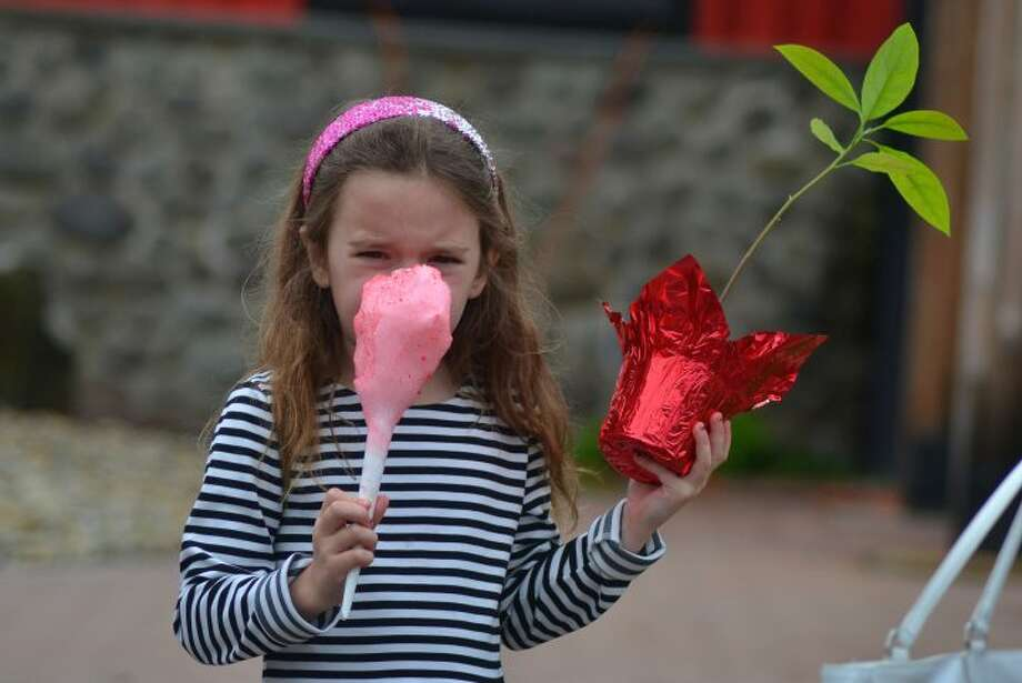 Samantha Maist takes time out to bite into her cotton candy after buying a plant Mother's Day Plant Sale. — Lisa Romanchick photo