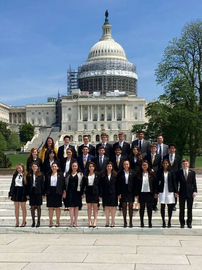 Trumbull High School's We the People team poses in the nation's capital Monday, April 24 after its eighth place finish at the national final competition.