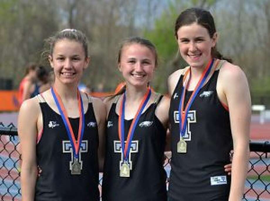 Kate Romanchick, Margaret LoSchiavo and Sydney Adams were steeplechase champions at the O'Grady Relays in Danbury.
