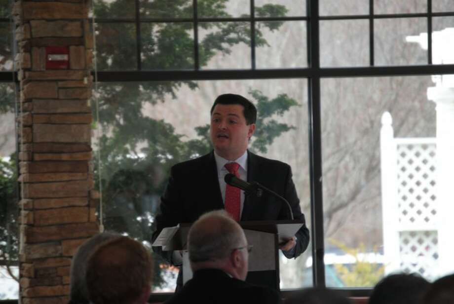 First Selectman Tim Herbst gives the State of the Town Address on March 31. In a letter to The Times this week, Herbst said that neighboring comunities in Newtown, Shelton, Stratford and Fairfield have all recognized a need to invest in community centers and senior centers.