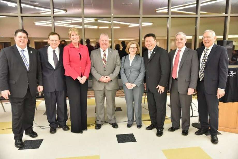 Rep. Dave Rutigliano, Trumbull BEI Executive Director Dan Neumann, Rep. Laura Devlin, Rep. Ben McGorty, State Education Commissioner Dianna Wentzell, Sen. Tony Hwang, Connecticut Board of Education Member Stephen Wright, and Trumbull Schools Superintendent Gary Cialfi. — Tony Pijar photo